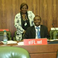 Kondwani Wella, the first librarian from Malawi to participate in WIPO's copyright committee (2010) with Kathy Matsika, EIFL Copyright Coordinator from Zimbabwe in the WIPO assembly hall.