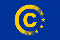 EU flag with copyright symbol. Source: www.laquadrature.net