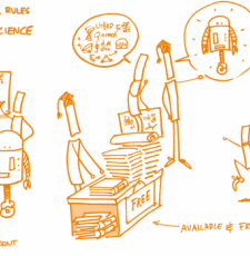 Cartoon showing basic concepts of open science - transparency, free availability, accessibility of research.