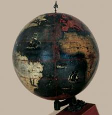 A dark globe of the world