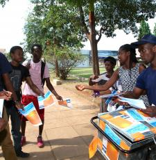 Students at Harare University of Technology in Zimbabwe distributing pamphlets supporting open access.