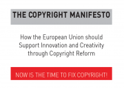 """A banner saying """"Now is the time to fix Copyright"""""""