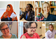 Photo collage, speakers at the webinar, clockwise from top left: Kaltuma Sama (Kenya), Caroline  Ngacaku (Kenya), Ugne Lipeikaite (EIFL, Moderator), Yusuf Ganyana (Kenya), Aletta Dunn (Namibia) and Susan Schnuer (EIFL).