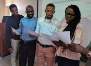 A group of trainee trainers learn training skills in a workshop in Namibia.