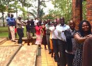 Ugandan libraries marching in crocodile format during a training ice-breaker.