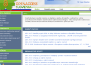 Screen shot of the Slovenia open access web portal home page.
