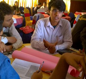 Students discuss open access developments in Nepal and their roles in promoting and advancing open access during an open access workshop supported by EIFL.