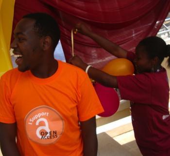 Students celebrate Open Access Week at the Catholic University of Eastern Africa in Kenya Photo credit: Jane - CUEA.