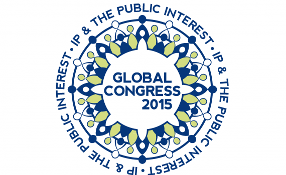 """Event logo: blue, white and green like the petals of a flower with the text """"Global Congress 2015"""" in the centre."""