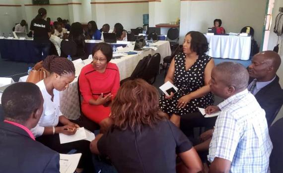 Zambian librarians engaging in group discussion at an EIFL-LIAZ workshop in Lusaka in October 2019.