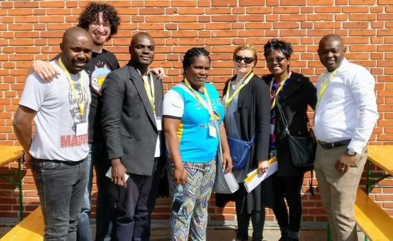 The seven scholarship winners, from left: Jeff Nyoka (South Africa), Petar Lukacic (Croatia), Bright Ofori (Ghana), Kemberley Constable (St Lucia), Biljana Kochishka (Macedonia), Purity Kavuri-Mutuku (Kenya) and Charles Kamdem Poeghela (Cameroon).