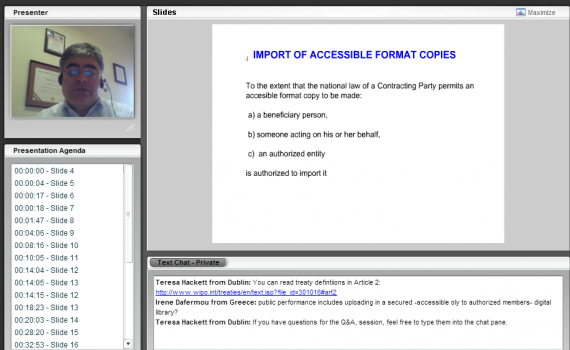 Screenshot of the presenter and a presentation slide on the Marrakesh export model.