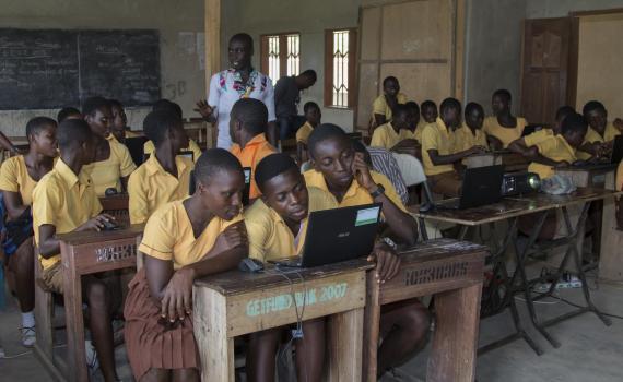 children at school working on computers