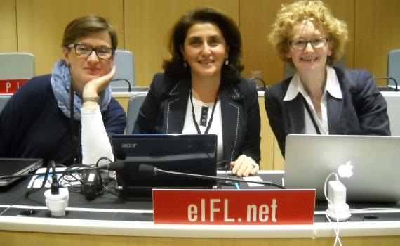 The EIFL team at SCCR/29: Barbara Szczepanska from Poland, Hasmik Galystan from Armenia, Teresa Hackett, EIFL Copyright and Libraries Programme Manager.