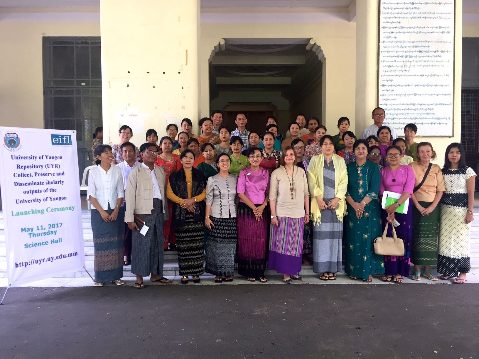 Participants at the launch of University of Yangon's open access repository.